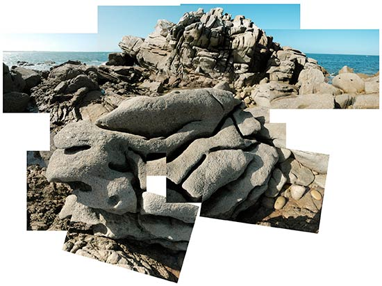 Rochers au bout de l'île de Sieck à Santec