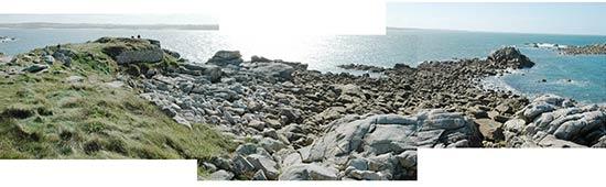 Les rochers et l'îlot de Golhédec au bout de l'île de Sieck