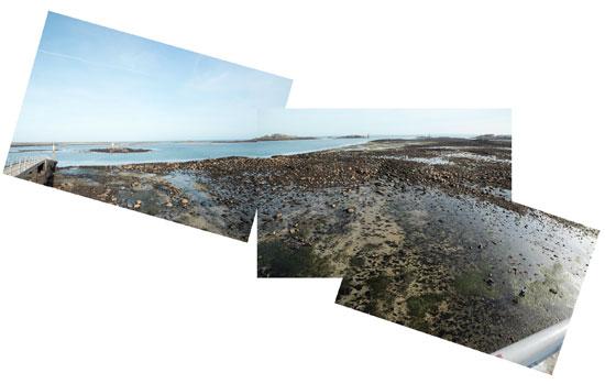 marée basse sur l'estacade à Roscoff