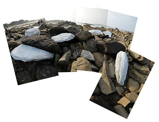 rochers pients en blanc